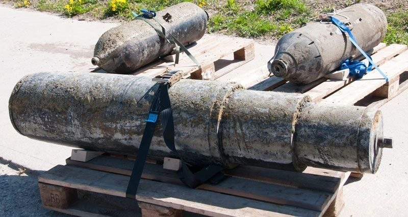 Old aerial munitions salvaged from lake